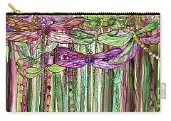 Carry-all Pouch featuring the mixed media Dragonfly Bloomies 1 - Pink by Carol Cavalaris