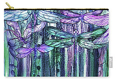 Carry-all Pouch featuring the mixed media Dragonfly Bloomies 2 - Lavender Teal by Carol Cavalaris