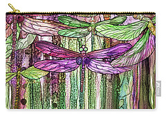 Carry-all Pouch featuring the mixed media Dragonfly Bloomies 2 - Pink by Carol Cavalaris