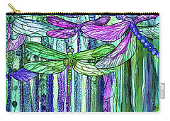 Carry-all Pouch featuring the mixed media Dragonfly Bloomies 2 - Purple by Carol Cavalaris