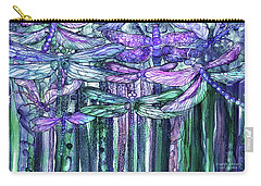Carry-all Pouch featuring the mixed media Dragonfly Bloomies 3 - Lavender Teal by Carol Cavalaris