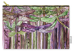 Carry-all Pouch featuring the mixed media Dragonfly Bloomies 3 - Pink by Carol Cavalaris