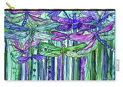 Carry-all Pouch featuring the mixed media Dragonfly Bloomies 3 - Purple by Carol Cavalaris