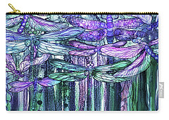 Carry-all Pouch featuring the mixed media Dragonfly Bloomies 4 - Lavender Teal by Carol Cavalaris