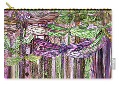 Carry-all Pouch featuring the mixed media Dragonfly Bloomies 4 - Pink by Carol Cavalaris