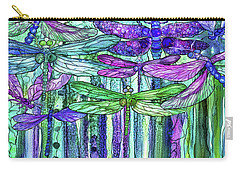 Carry-all Pouch featuring the mixed media Dragonfly Bloomies 4 - Purple by Carol Cavalaris