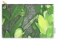 Dragonfly In Green Repose Carry-all Pouch