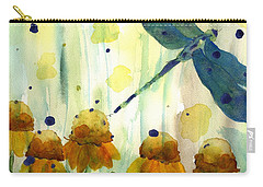 Dragonfly In The Wildflowers Carry-all Pouch by Dawn Derman