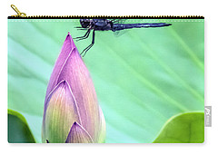 Dragonfly Landing On A Lotus Blossom Carry-all Pouch