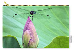 Dragonfly Landing On Lotus Carry-all Pouch