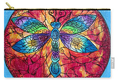 Carry-all Pouch featuring the drawing Dragonfly Mandala  by Megan Walsh
