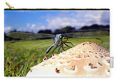 Dragonfly On A Mushroom Carry-all Pouch by Chris Mercer