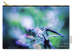 Dragonfly On Lantana-blue Carry-all Pouch by Toma Caul