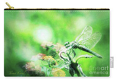 Dragonfly On Lantana-green Carry-all Pouch by Toma Caul
