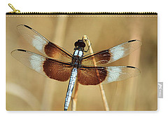 Carry-all Pouch featuring the photograph Dragonfly On Reed by Sheila Brown