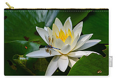 Dragonfly On Waterlily  Carry-all Pouch by Allen Sheffield