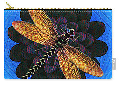 Carry-all Pouch featuring the digital art Dragonfly Snookum by Iowan Stone-Flowers