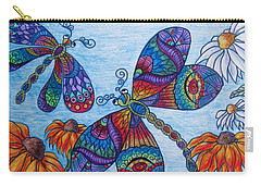 Carry-all Pouch featuring the drawing Dragons On The Wing by Megan Walsh