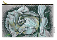 Dramatic White Rose Carry-all Pouch