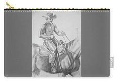 Drawing Pencil Cowboy On Horse #17119 Carry-all Pouch