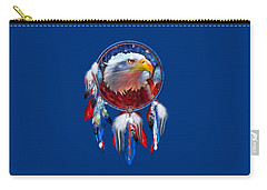 Carry-all Pouch featuring the mixed media Dream Catcher - Eagle Red White Blue by Carol Cavalaris