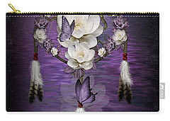 Dream Catcher Purple Flowers Carry-all Pouch