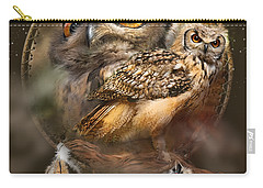 Carry-all Pouch featuring the mixed media Dream Catcher - Spirit Of The Owl by Carol Cavalaris