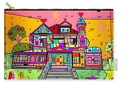 Carry-all Pouch featuring the digital art Dream House Popart By Nico Bielow  by Nico Bielow