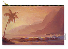 Carry-all Pouch featuring the painting Dreams Of Hawaii - Tropical Beach Sunset Paradise Landscape Painting by Karen Whitworth