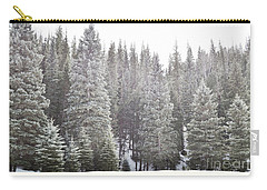 Carry-all Pouch featuring the photograph Dreamy Pine Snow Forest Landscape by Andrea Hazel Ihlefeld