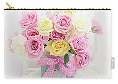 Carry-all Pouch featuring the photograph Dreamy Shabby Chic Pink Yellow Roses On White Chair - Vintage Pastel Cottage Pink Roses Home Decor by Kathy Fornal