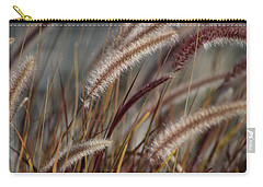 Dried Desert Grass Plumes In Honey Brown Carry-all Pouch