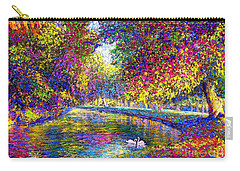 Drifting Beauties, Swans, Colorful Modern Impressionism Carry-all Pouch by Jane Small
