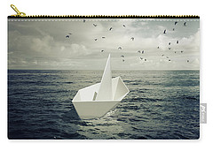 Carry-all Pouch featuring the photograph Drifting Paper Boat by Carlos Caetano