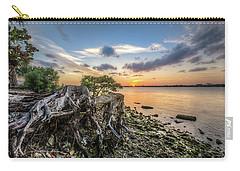 Carry-all Pouch featuring the photograph Driftwood At The Edge by Debra and Dave Vanderlaan