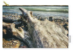Carry-all Pouch featuring the photograph Driftwood On Beach - Grant Park - Lake Michigan Shoreline by Jennifer Rondinelli Reilly - Fine Art Photography