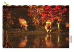 Drinking Cows In The Forest Carry-all Pouch
