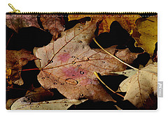 Carry-all Pouch featuring the photograph Droplets On Fallen Leaves by Doris Potter