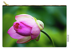 Carry-all Pouch featuring the photograph Droplets On Lotus by Edward Kreis