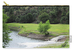 Dropped His Line In Bear Dam Lake Carry-all Pouch by Natalie Ortiz