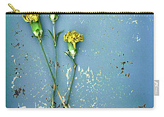 Dry Flowers On Blue Carry-all Pouch by Jill Battaglia