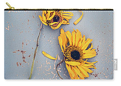 Dry Sunflowers On Blue Carry-all Pouch by Jill Battaglia