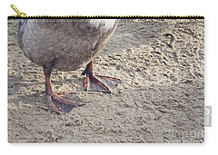 Carry-all Pouch featuring the photograph Duck Feet In The Sand by Cindy Garber Iverson