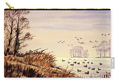 Carry-all Pouch featuring the painting Duck Hunting Times by Bill Holkham
