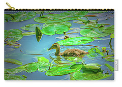 Carry-all Pouch featuring the photograph Duckling In The Green. by Leif Sohlman