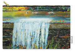 Carry-all Pouch featuring the painting Ducks And Waterfall by Michael Daniels