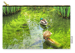 Carry-all Pouch featuring the pyrography Ducks In The Pond by Yury Bashkin