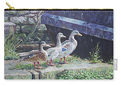 Carry-all Pouch featuring the painting Ducks On Dockside by Martin Davey