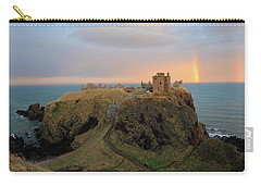 Carry-all Pouch featuring the photograph Dunnottar Castle Sunset Rainbow by Grant Glendinning