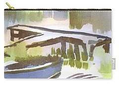 Carry-all Pouch featuring the painting Dusk At The Boat Dock by Kip DeVore